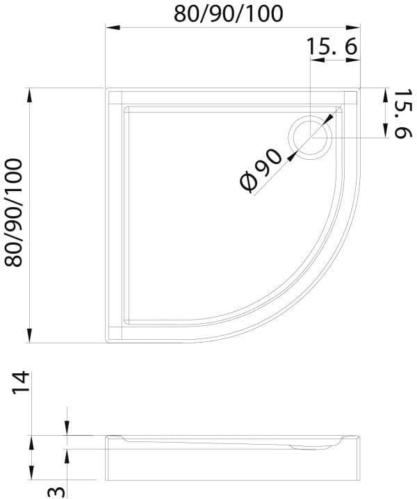 New Trendy | Brodzik COLUMBUS  80x80x14    B-0316