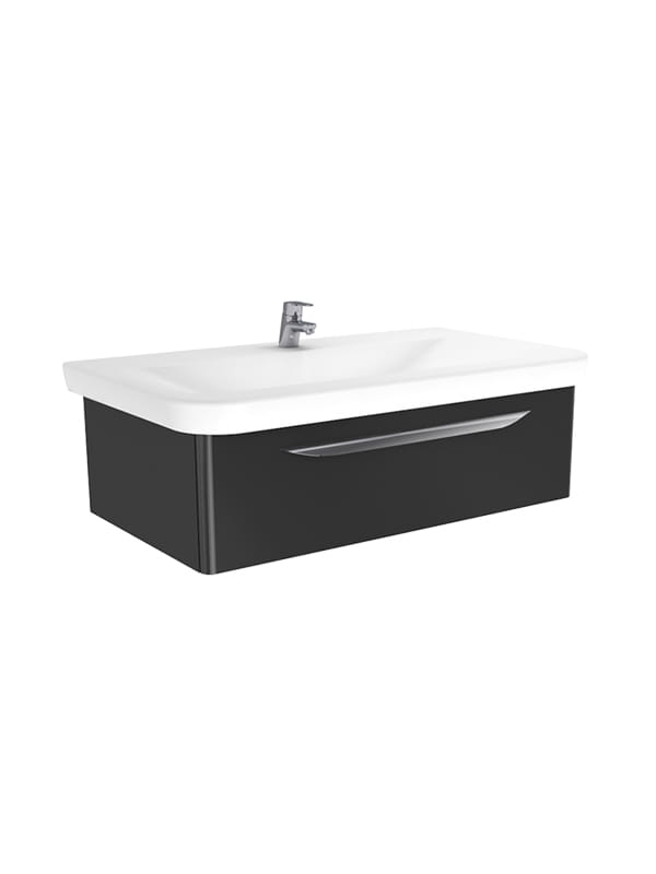 New Trendy Sfero szafka wisząca + umywalka antracyt połysk 95 cm ML-9195/U-0083