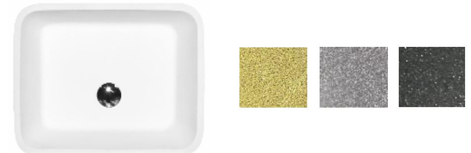 Besco umywalka nablatowa Assos Glam Srebrna 40x50x15 cm biało-srebrna