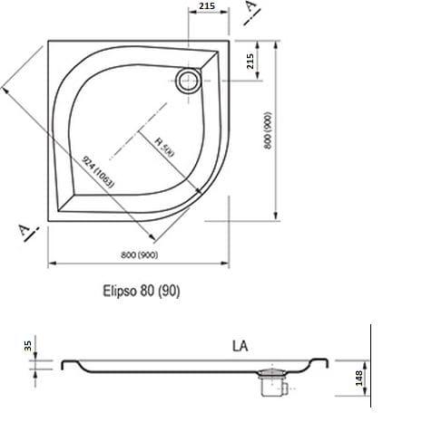 Ravak brodzik prysznicowy Elipso 80 LA A224401210
