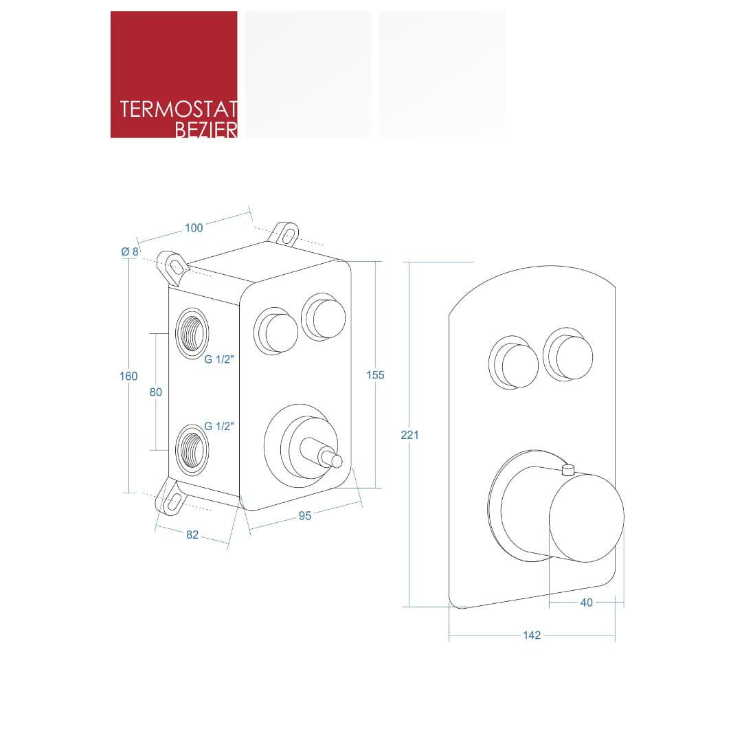 Corsan Anzio Bezier Prysznicowy zestaw podtynkowy termostat CZARNY CMZ047