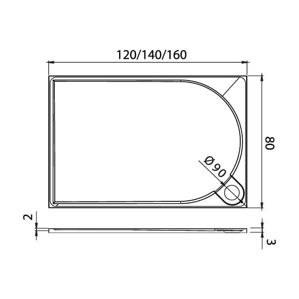 New Trendy | Brodzik FLUO prostokątny, konglomerat 140x80x3cm    B-0355