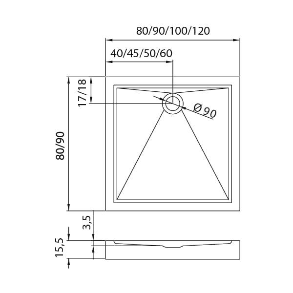 New Trendy | Brodzik CANTARE 90 x 90 x 15,5 cm   B-0275