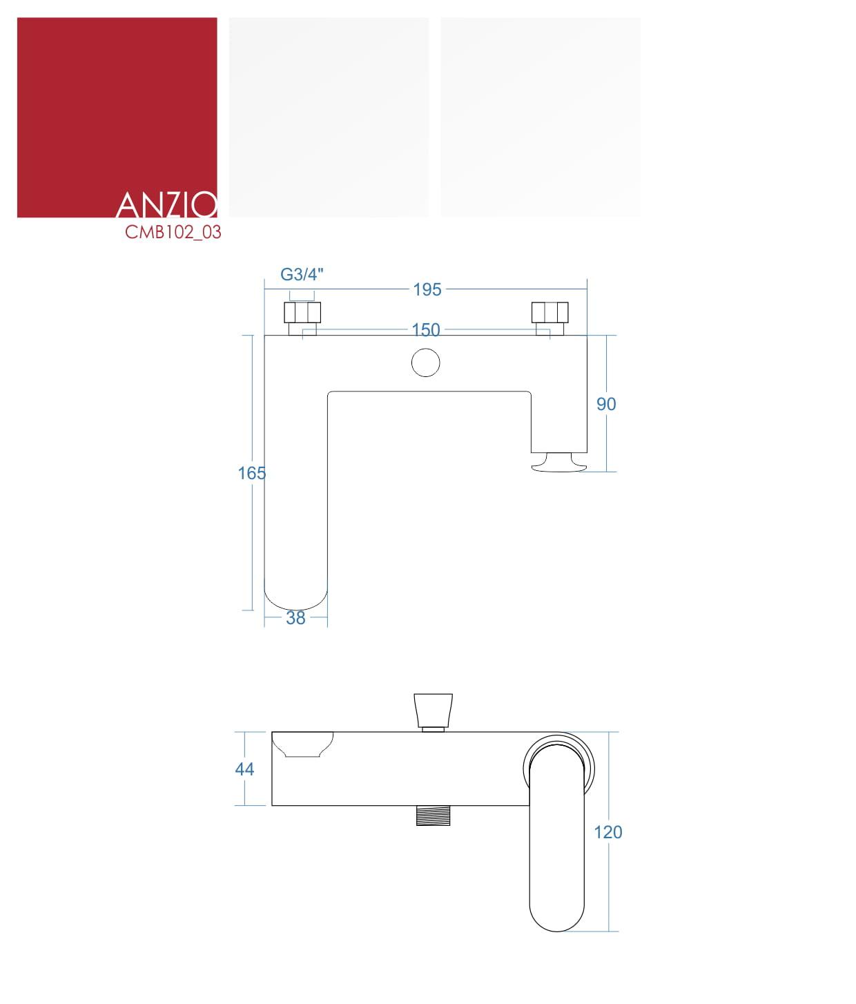 Corsan bateria wannowa Anzio CMB102 03 chrom