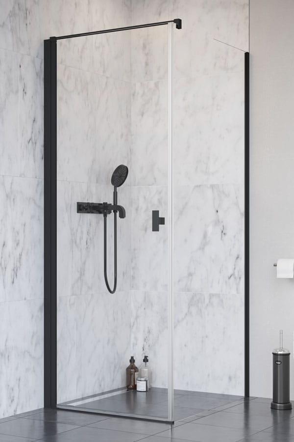 Kabina Radaway Nes Black KDJ I drzwi lewe 100 x ścianka 80 cm, szkło przejrzyste wys. 200 cm. 10022100-54-01L/10039080-01-01