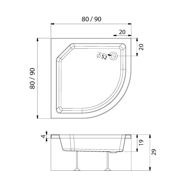New Trendy | Brodzik ARTUS półokrągły R55  80 x 80 x 29 cm   B-0363