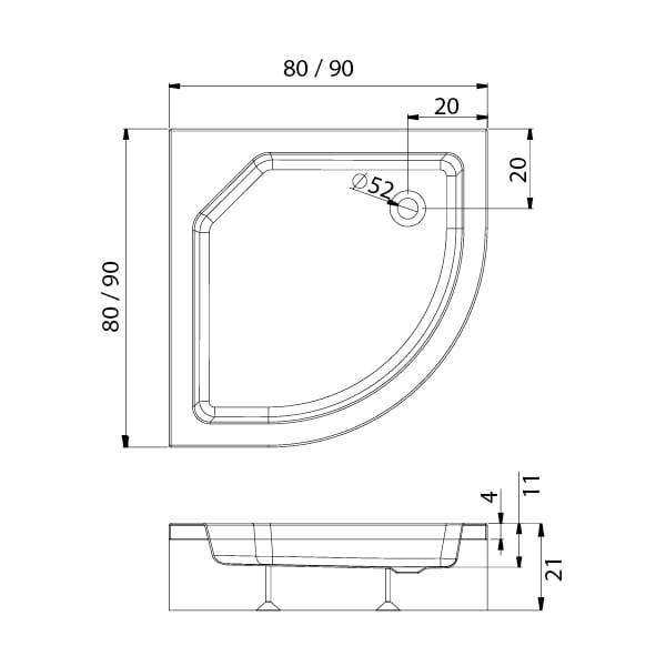 New Trendy | Brodzik ARTUS półokrągły R55  90 x 90 x 21 cm   B-0360