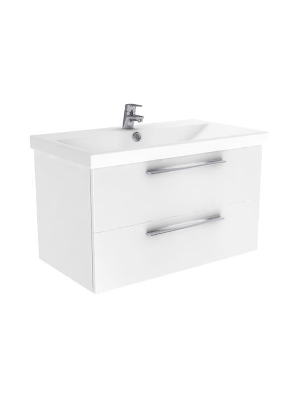 New Trendy Notti szafka wisząca + umywalka biały połysk 80 cm ML-9080/U-0080