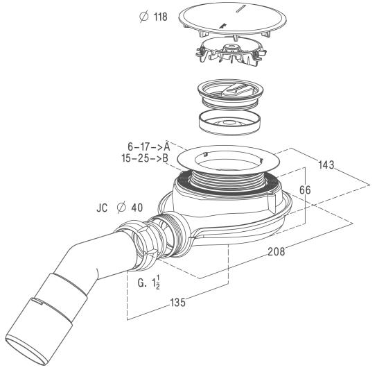 Radaway syfon czyszczony od góry 90 mm Turboflow  TBXS