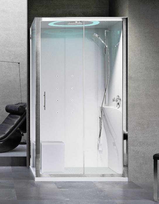 Novellini Eon 2P120x80 kabina z sauną parową LED, drzwi przesuwne, profil biały, prawa EON2P12XDX1N-XA