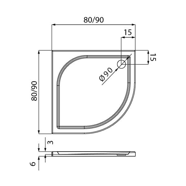 New Trendy | Brodzik IDEO 90x90x6    B-0315