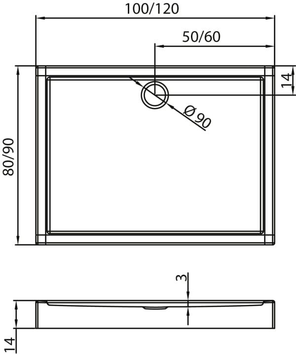 New Trendy | Brodzik COLUMBUS 100 x 80 x 14 cm  B-0104