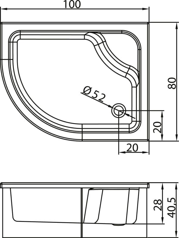 New Trendy | Brodzik MAXIMA z siedziskiem 100 x 80 x 40,5cm,  prawy   B-0184/P