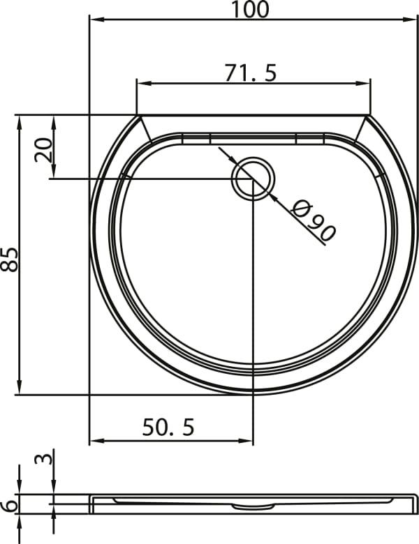 New Trendy brodzik Rondo Ultra podstawa styropianowa 100 x 85 x 6cm  B-0157