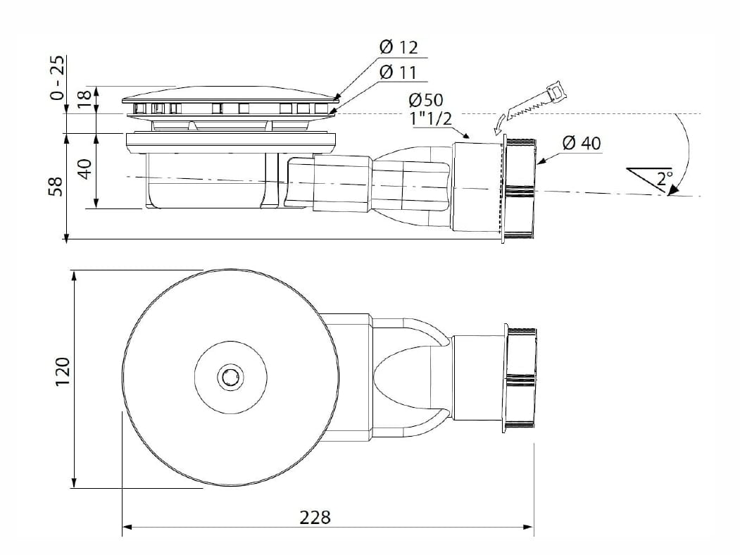 Radaway syfon R400 Slim