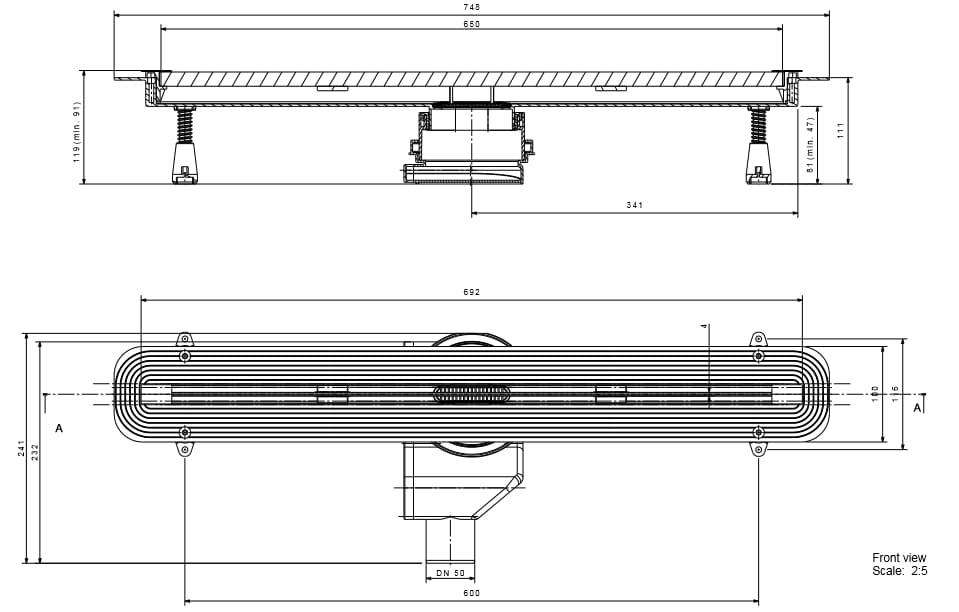Odpływ liniowy Confluo 65 cm schemat