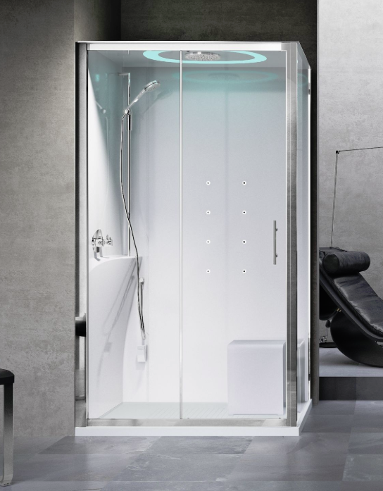 Novellini Eon 2P120x80 kabina z sauną parową LED, drzwi przesuwne, profil srebrny, lewa EON2P12XSX1N-XB