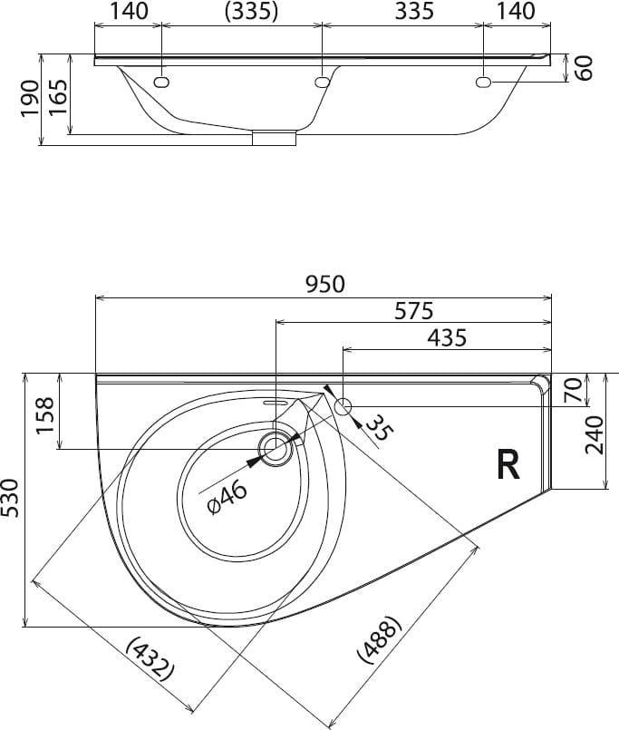 Ravak Avocado Comfort umywalka 950x530 prawa z otworem na baterię XJ9P1100000