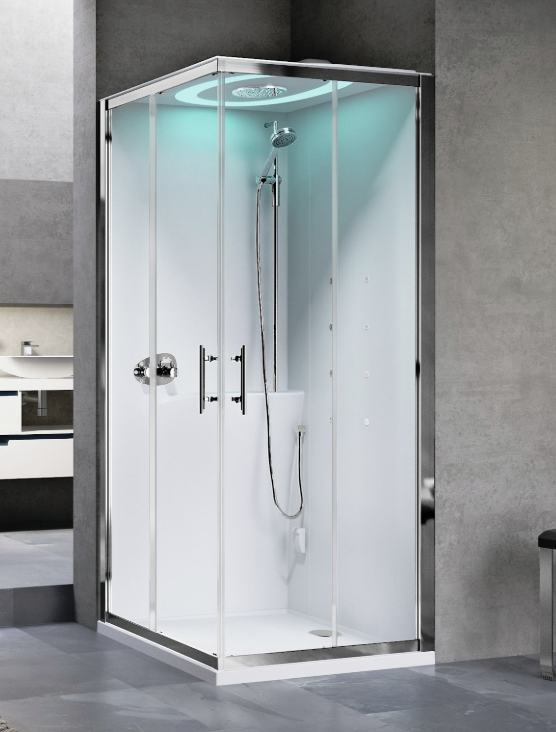 Novellini Eon A80 kabina z sauną parową LED, drzwi przesuwne, profil srebrny, EONA8XX1N-XB