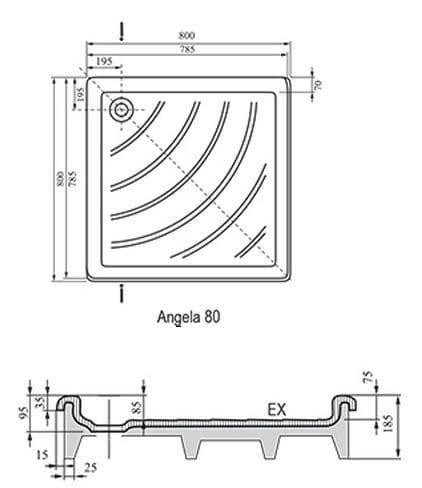 Ravak brodzik kwadratowy ANGELA EX 80x80  A004401320
