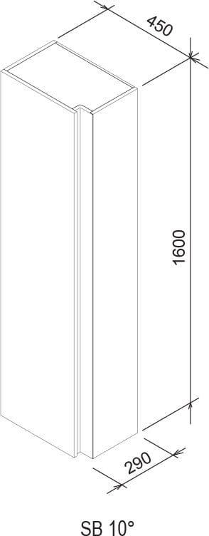 Ravak SB 10°(stopni) szafka wysoka 160cm biała   X000000751