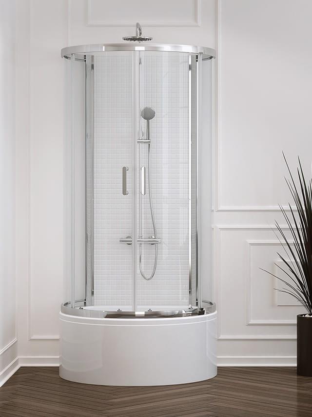 Kabina prysznicowa przyścienna New Trendy Gold New Rondo wys. 165 cm