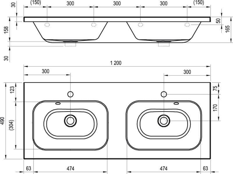 Ravak umywalka podwójna Chrome 1200 z ukrytym przelewem XJG01212000