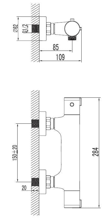 Art Platino Term bateria termostatyczna prysznicowa chrom TER-BPKT.030C