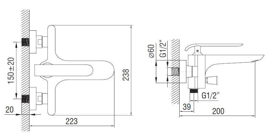 Art Platino Emira bateria wannowo-prysznicowa chrom/biały EMI-BWN.020BC