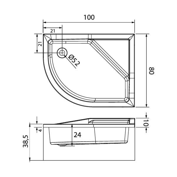 New Trendy | Brodzik MAXIMA , prawy, podwyższone siedzisko 100 x 80 x 38,5cm   B-0368