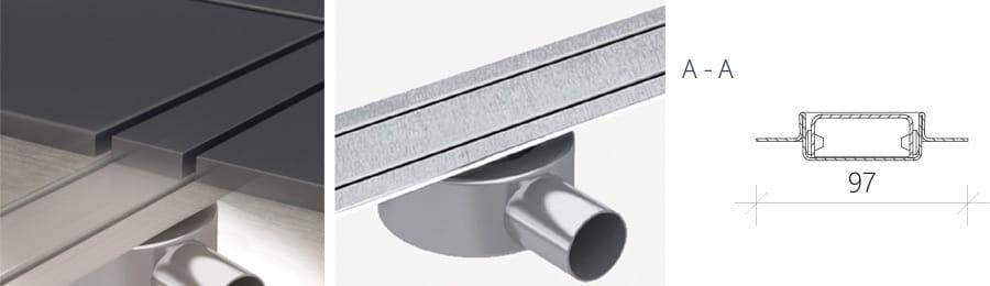 Odpływ liniowy Wiper Slim Invisible  WIS 90 cm metalowy syfon  SIN900