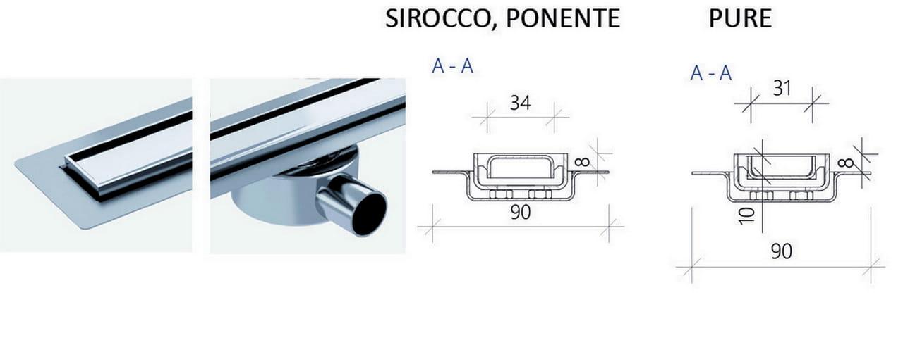 Odpływ liniowy Wiper Elite Slim Sirocco 70 cm metalowy syfon  EL700SI