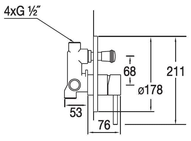 Blue Water Denver bateria podtynkowa jednouchwytowa z przełącznikiem chrom DEN-BPD.220C