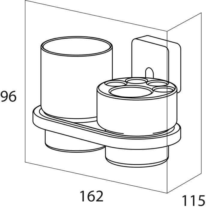 Tiger Impuls kubek+pojemnik na szczoteczki elektryczne chrom 3853.03