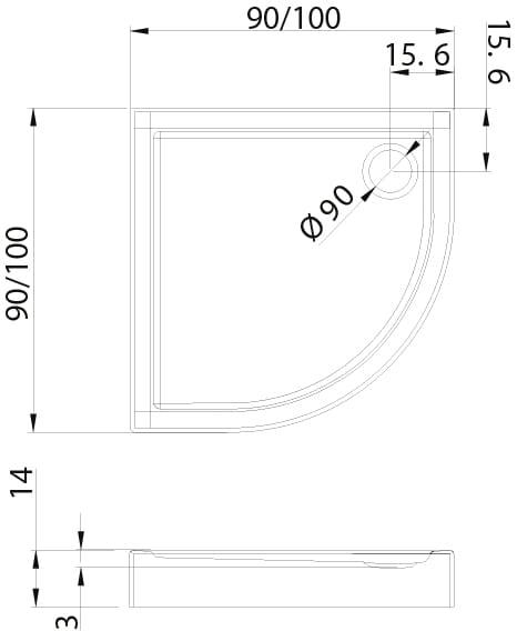 New Trendy | Brodzik COLUMBUS 100x100x14 B-0253