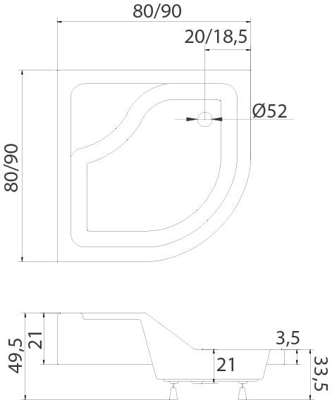 New Trendy | Obudowa do brodzika MODERN LUX z siedziskiem 80x80x 28,5 cm    0-0134
