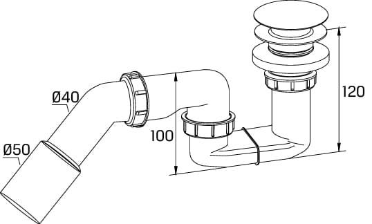 New Trendy Syfon brodzikowy 52mm click-clack   S-0024