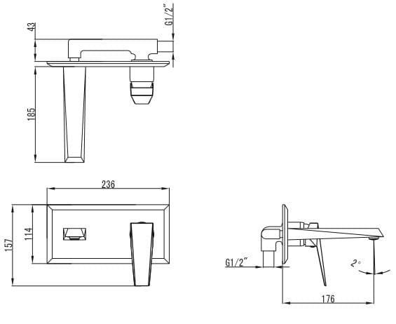 Art Platino Rok bateria umywalkowa podtynkowa chrom ROK-BPU.110C