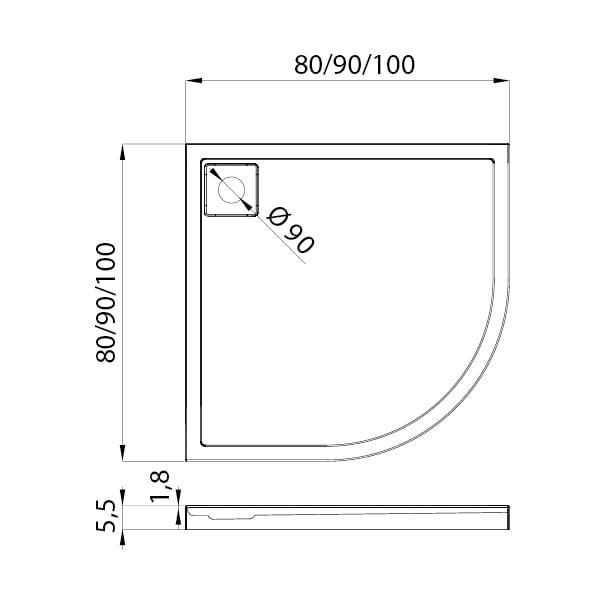 New Trendy | Brodzik LIDO 90x90x5,5    B-0312