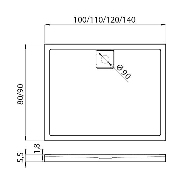 New Trendy | Brodzik LIDO 100 x 90 x 5,5 cm    B-0326