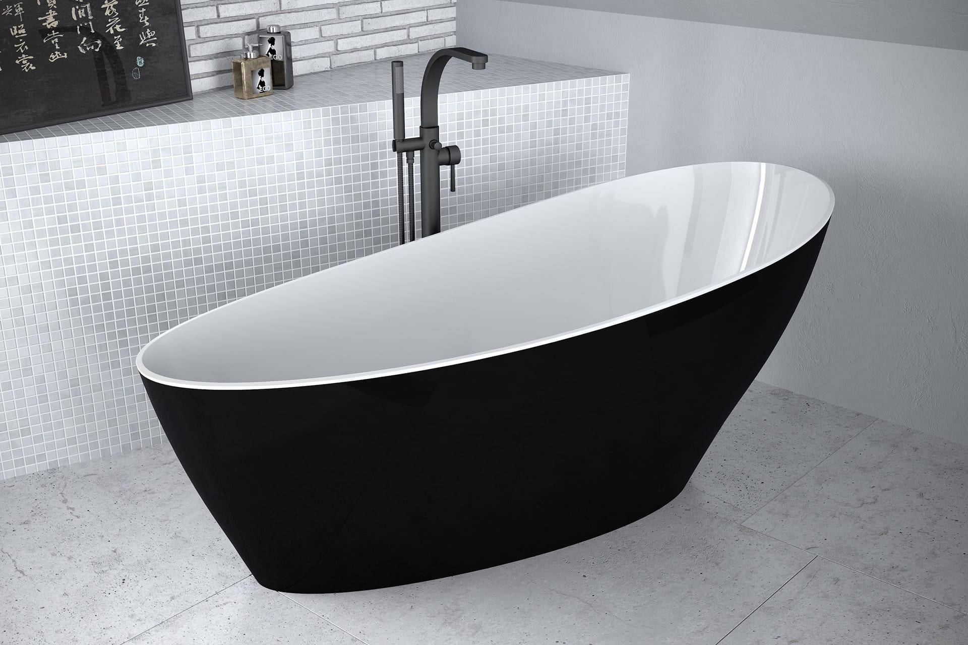 Besco wanna wolnostojąca 165x70 cm Keya B&W biało-czarna + syfon klik-klak
