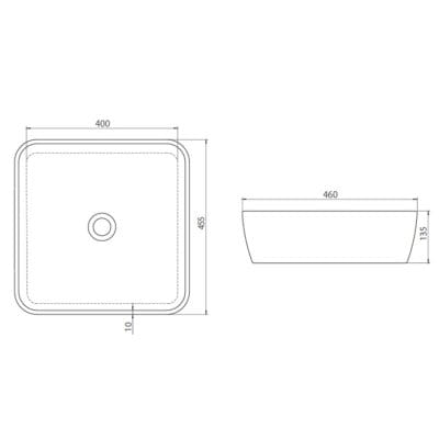 CeraStyle  umywalka One, kwadratowa 46x46 cm 076000