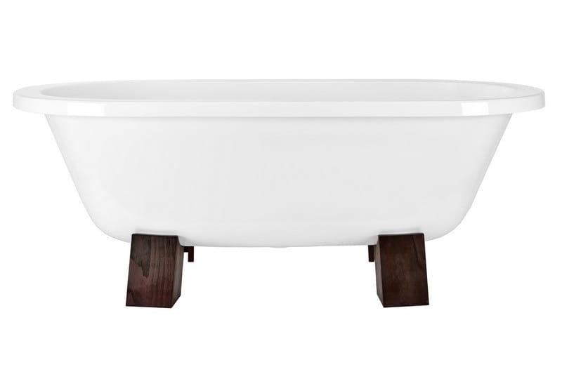 Besco wanna wolnostojąca Gracja drewniane nogi 160 x 75 cm biała
