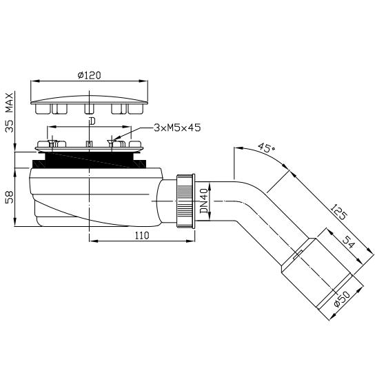 Radaway syfon czyszczony od góry 90 mm  R580