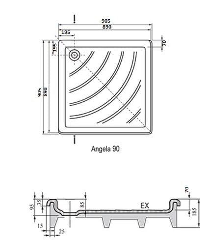 Ravak brodzik kwadratowy ANGELA EX 90x90  A007701320