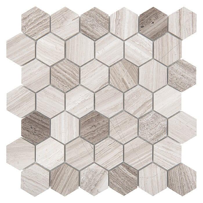 DUNIN Woodstone mozaika kamienna Woodstone Grey HEXAGON 48