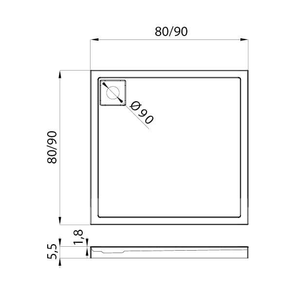 New Trendy | Brodzik LIDO 80 x 80 x 5,5 cm     B-0320