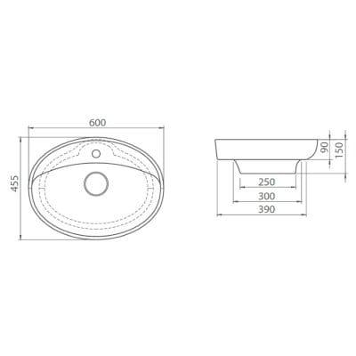 CeraStyle  umywalka owalna Lal, 60 cm      072200-u