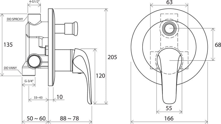 Ravak Rosa bateria podtynkowa wannowo-prysznicowa z przełącznikiem  RS 061.00   X070014