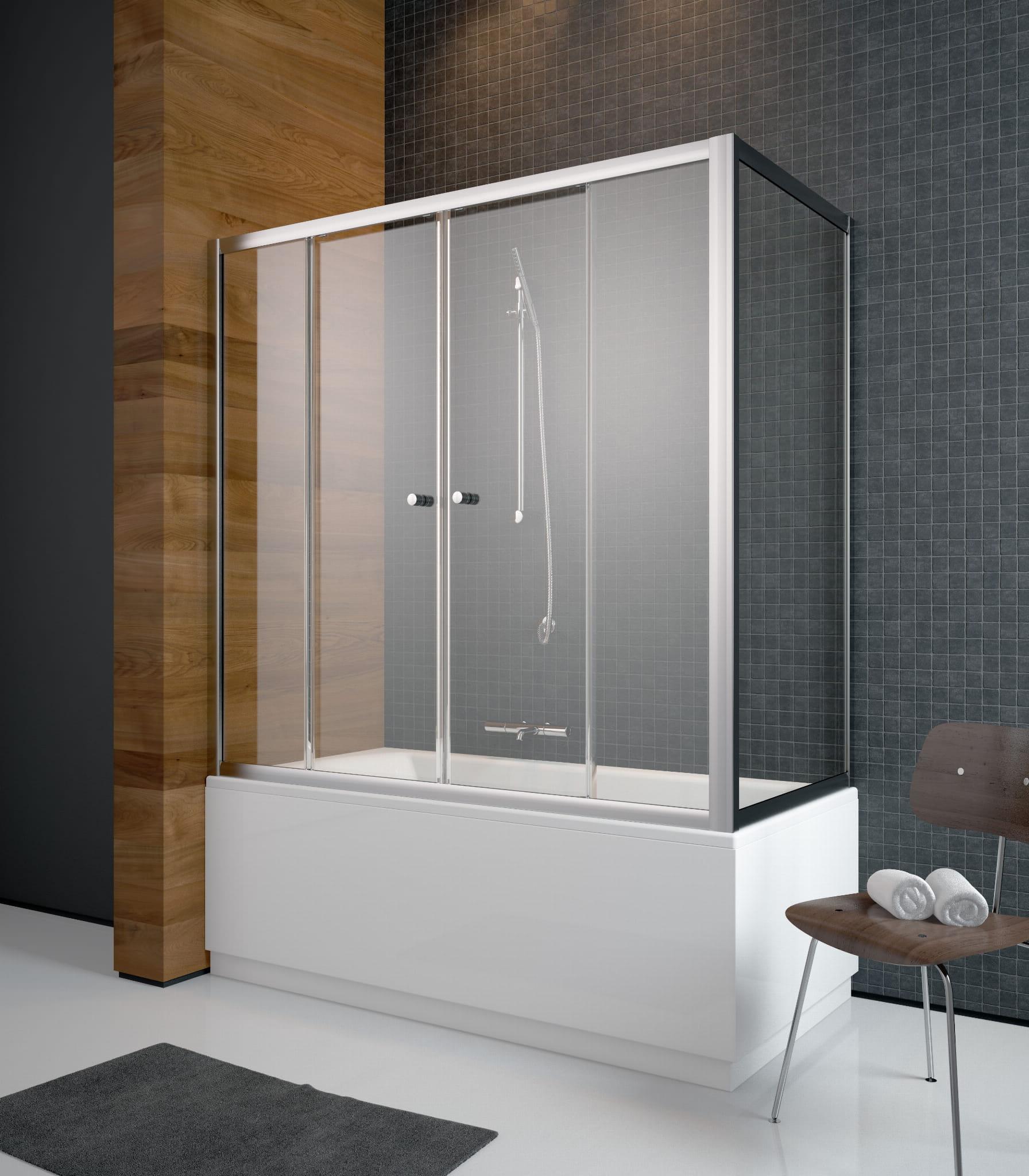 Radaway zabudowa nawannowa Vesta DWD+S 140 x 75,  szkło przejrzyste, wys. 150 cm 203140-01/204075-01